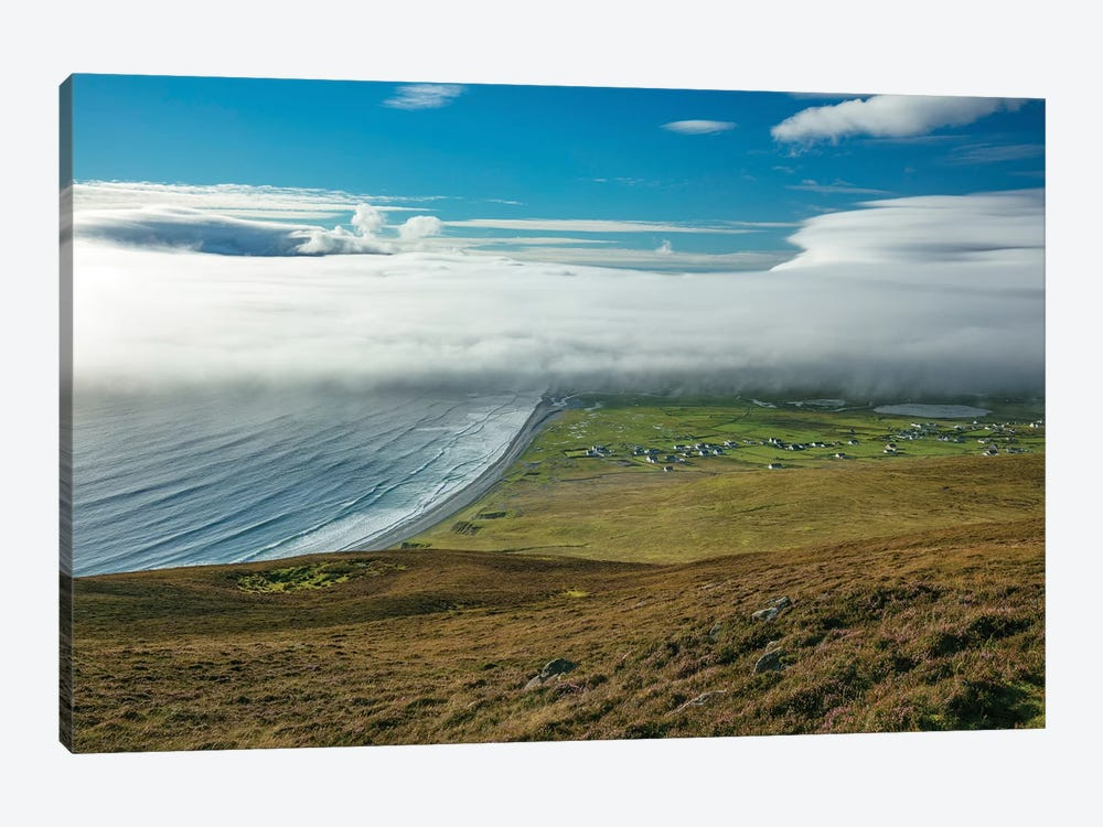 Sea Fog Rolling In Over Dookinelly And Keel, Achill Island, County Mayo, Ireland by Gareth McCormack 1-piece Canvas Art