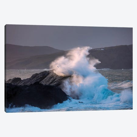 Storm Waves Beneath Clare Island Lighthouse, Achill Island, County Mayo, Ireland Canvas Print #GAR179} by Gareth McCormack Canvas Print