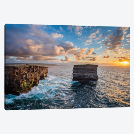 Sunset At Dun Briste, Downpatrick Head, County Mayo, Ireland Canvas Print #GAR180} by Gareth McCormack Canvas Wall Art