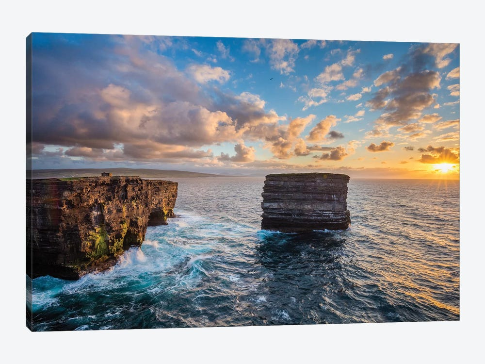 Sunset At Dun Briste, Downpatrick Head, County Mayo, Ireland by Gareth McCormack 1-piece Canvas Print