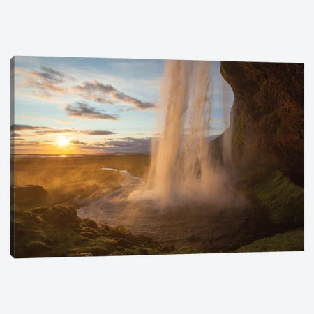Sunset At Seljalandsfoss Waterfall, Iceland Canvas Print #GAR181} by Gareth McCormack Canvas Artwork