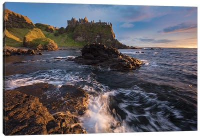 Sunset Beneath Dunluce Castle I, County Antrim, Northern Ireland Canvas Art Print
