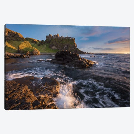 Sunset Beneath Dunluce Castle I, County Antrim, Northern Ireland Canvas Print #GAR182} by Gareth McCormack Canvas Wall Art