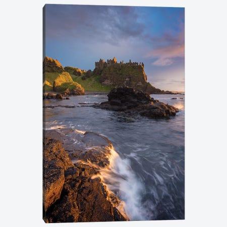 Sunset Beneath Dunluce Castle II, County Antrim, Northern Ireland 3-Piece Canvas #GAR183} by Gareth McCormack Canvas Art