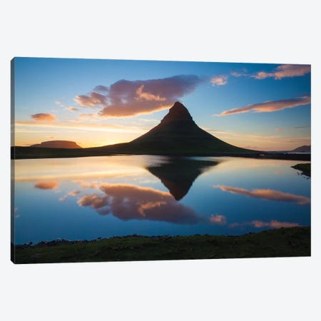Sunset Reflection Of Kirkjufell Mountain, Iceland Canvas Print #GAR189} by Gareth McCormack Canvas Wall Art
