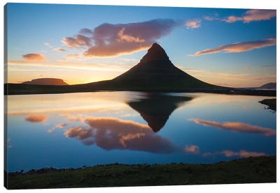 Sunset Reflection Of Kirkjufell Mountain, Iceland Canvas Art Print
