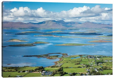 View Across Clew Bay From The Summit Of Croagh Patrick, County Mayo, Ireland Canvas Art Print