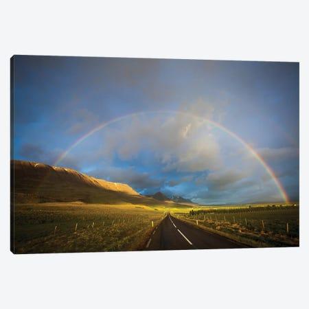 Road And Rainbow, Iceland Canvas Print #GAR217} by Gareth McCormack Art Print