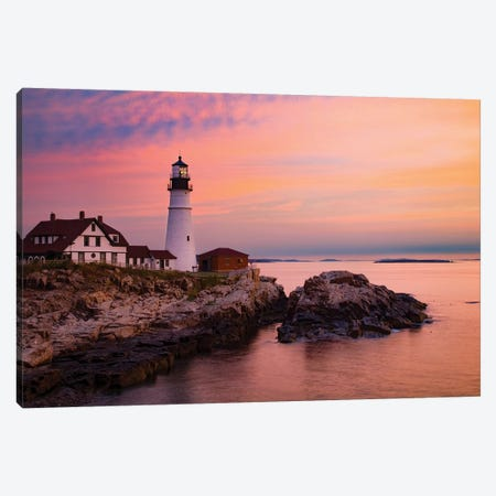 Dawn, Portland Lighthouse, Maine Canvas Print #GAR227} by Gareth McCormack Canvas Wall Art