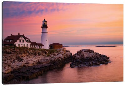 Dawn, Portland Lighthouse, Maine Canvas Art Print
