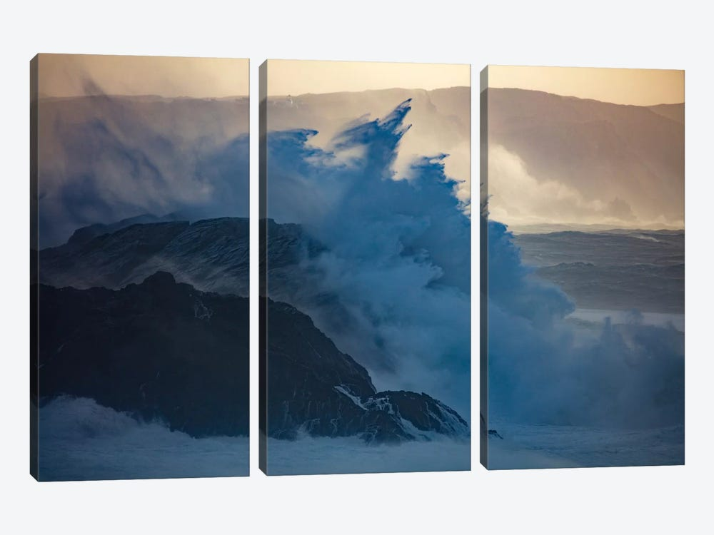 Crashing Waves II, County Mayo, Connacht Province, Republic Of Ireland by Gareth McCormack 3-piece Canvas Print