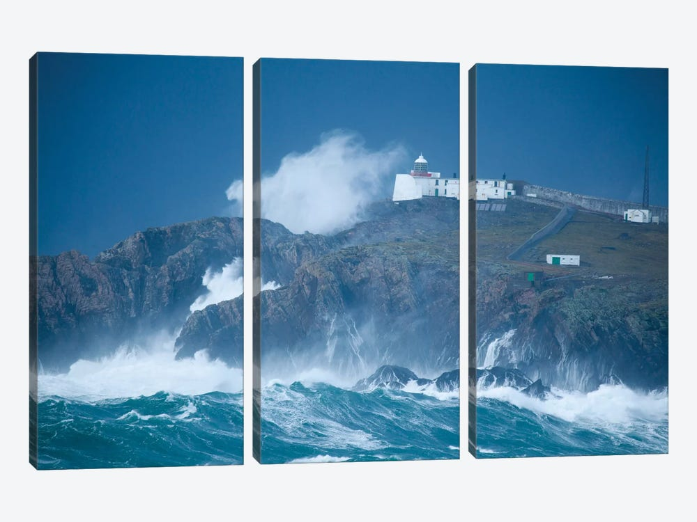 Crashing Waves, Eagle Island, Belmullet, County Mayo, Connacht Province, Republic Of Ireland by Gareth McCormack 3-piece Canvas Art