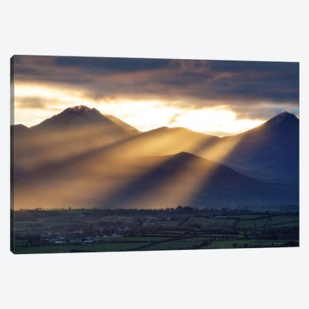 Crepuscular Rays, Macgillycuddy's Reeks, County Kerry, Munster Province, Republic Of Ireland Canvas Print #GAR24} by Gareth McCormack Canvas Art Print