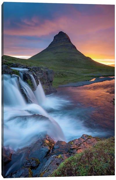 Dawn Over Kirkjufell And Kirkjufellsfoss I, Grundarfjordur, Snaefellsnes Peninsula, Vesturland, Iceland Canvas Art Print
