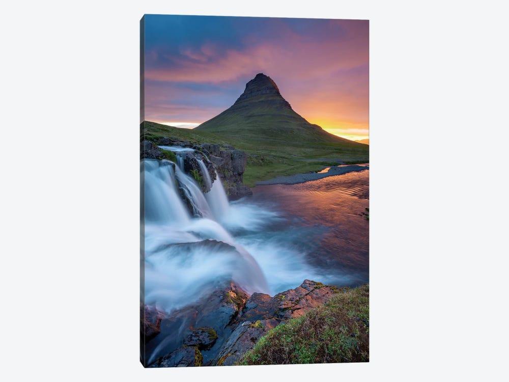 Dawn Over Kirkjufell And Kirkjufellsfoss I, Grundarfjordur, Snaefellsnes Peninsula, Vesturland, Iceland by Gareth McCormack 1-piece Canvas Wall Art