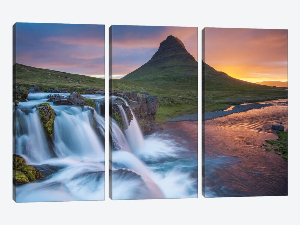 Dawn Over Kirkjufell And Kirkjufellsfoss II, Grundarfjordur, Snaefellsnes Peninsula, Vesturland, Iceland by Gareth McCormack 3-piece Canvas Art Print