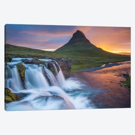 Dawn Over Kirkjufell And Kirkjufellsfoss II, Grundarfjordur, Snaefellsnes Peninsula, Vesturland, Iceland Canvas Print #GAR28} by Gareth McCormack Canvas Artwork