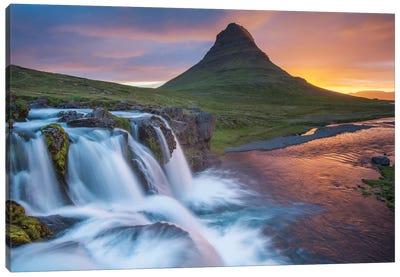 Dawn Over Kirkjufell And Kirkjufellsfoss II, Grundarfjordur, Snaefellsnes Peninsula, Vesturland, Iceland Canvas Art Print