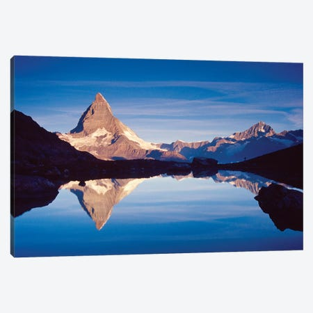 Dawn Reflection Of Matterhorn, Riffelsee, Canton Of Valais, Switzerland Canvas Print #GAR29} by Gareth McCormack Canvas Artwork