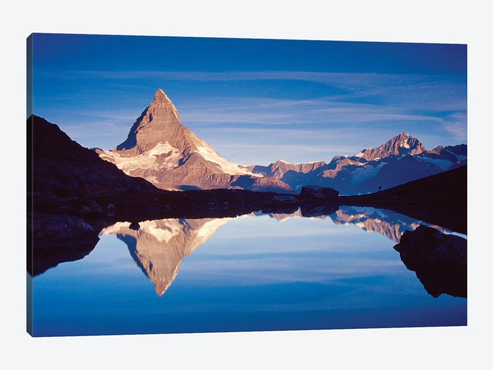 Dawn Reflection Of Matterhorn, Riffelsee, Canton Of Valais, Switzerland by Gareth McCormack 1-piece Canvas Wall Art
