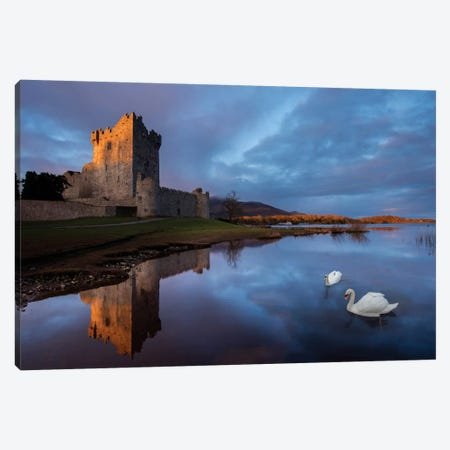 Dawn Reflection, Ross Castle, Killarney National Park, County Kerry, Munster Province, Republic Of Ireland Canvas Print #GAR30} by Gareth McCormack Canvas Art Print