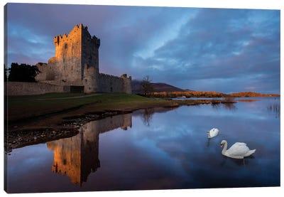 Dawn Reflection, Ross Castle, Killarney National Park, County Kerry, Munster Province, Republic Of Ireland Canvas Print #GAR30