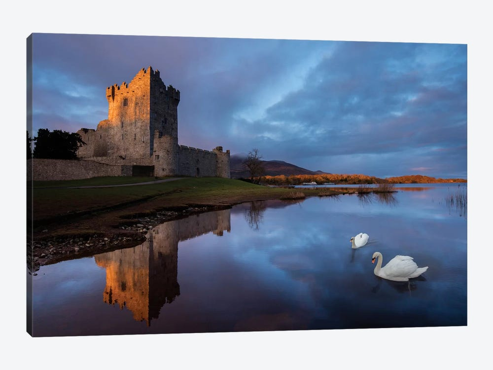 Dawn Reflection, Ross Castle, Killarney National Park, County Kerry, Munster Province, Republic Of Ireland by Gareth McCormack 1-piece Canvas Wall Art