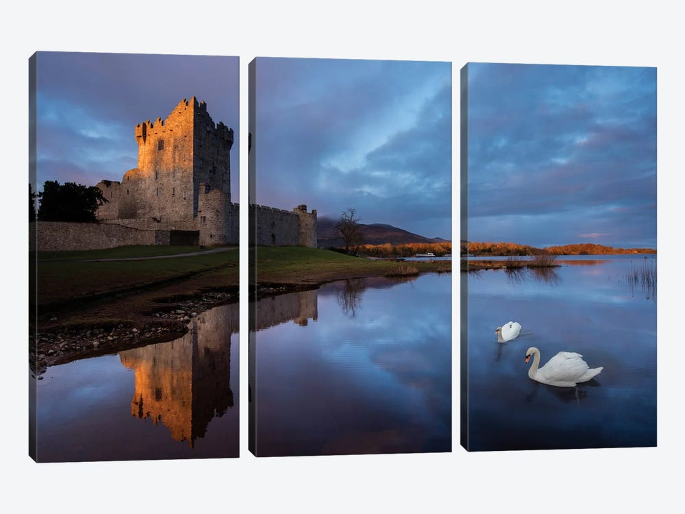 Dawn Reflection, Ross Castle, Killarney National Park, County Kerry, Munster Province, Republic Of Ireland by Gareth McCormack 3-piece Canvas Wall Art