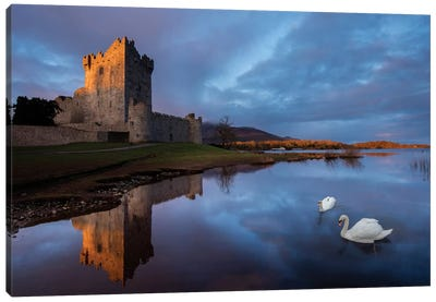 Dawn Reflection, Ross Castle, Killarney National Park, County Kerry, Munster Province, Republic Of Ireland Canvas Art Print