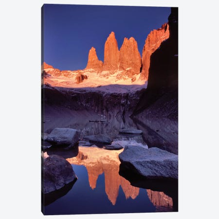 Dawn Reflection, Torres del Paine, Patagonia, Chile Canvas Print #GAR31} by Gareth McCormack Art Print
