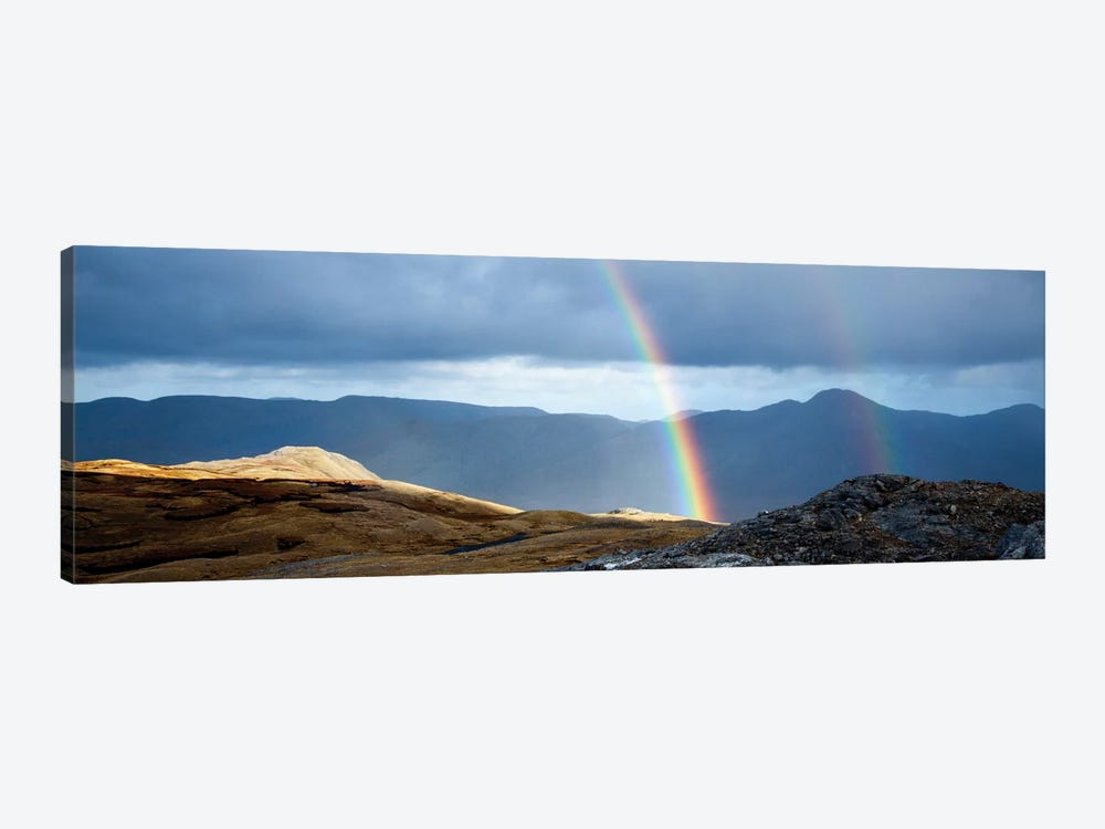 Double Rainbow, Twelve Bens, Connemara, County Galway, Connacht Province, Republic Of Ireland 1-piece Canvas Wall Art