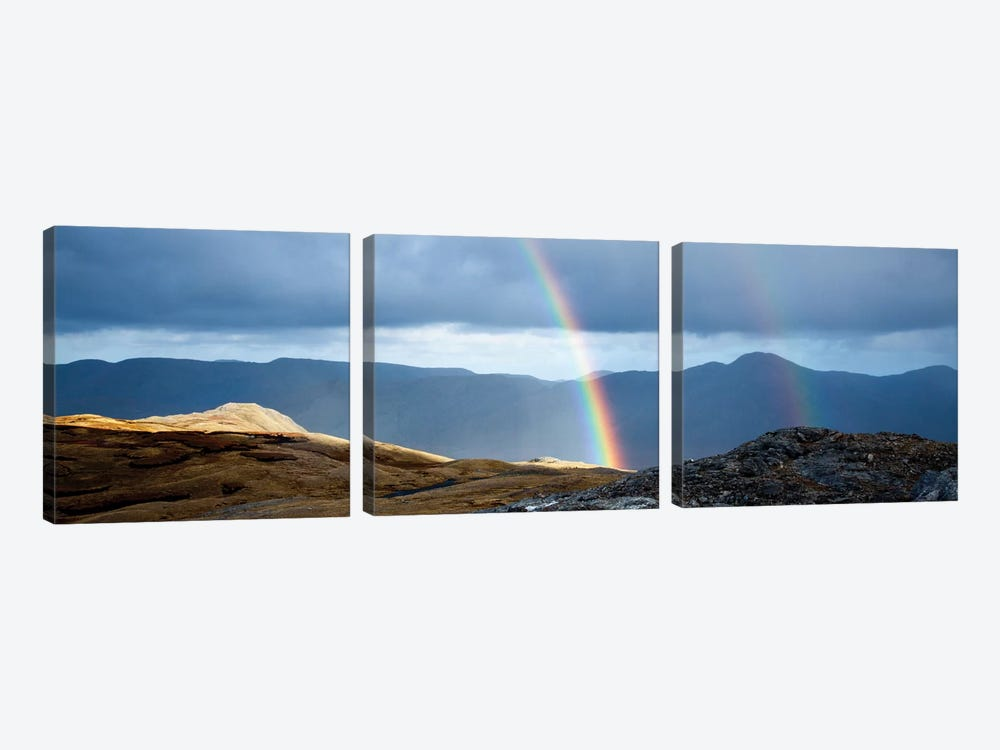 Double Rainbow, Twelve Bens, Connemara, County Galway, Connacht Province, Republic Of Ireland by Gareth McCormack 3-piece Canvas Artwork