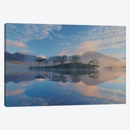 Misty Morning Reflection Of Twelve Bens I, Derryclare Lough, Connemara, County Galway, Connacht Province, Republic Of Ireland Canvas Print #GAR57} by Gareth McCormack Canvas Artwork