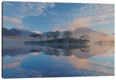 Misty Morning Reflection Of Twelve Bens I, Derryclare Lough, Connemara, County Galway, Connacht Province, Republic Of Ireland Canvas Print #GAR57