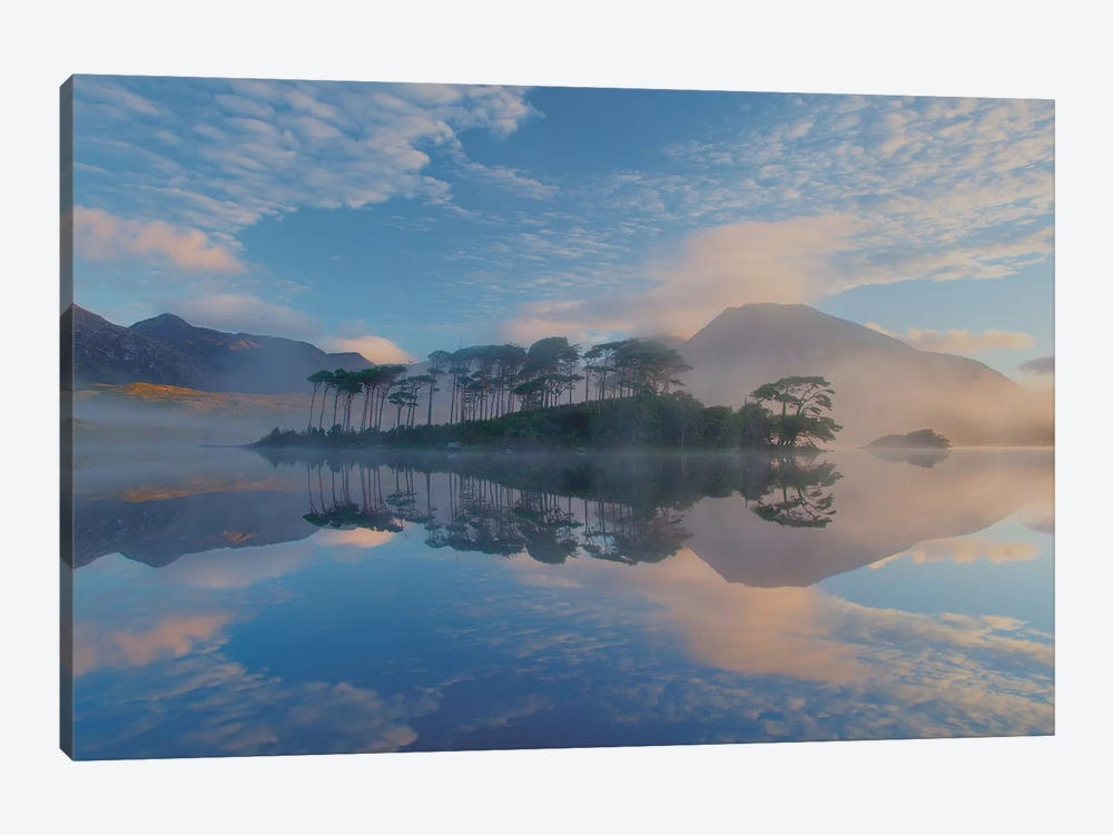 Misty Morning Reflection Of Twelve Bens I, Derryclare Lough, Connemara, County Galway, Connacht Province, Republic Of Ireland by Gareth McCormack 1-piece Canvas Print