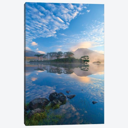 Misty Morning Reflection Of Twelve Bens II, Derryclare Lough, Connemara, County Galway, Connacht Province, Republic Of Ireland Canvas Print #GAR58} by Gareth McCormack Art Print