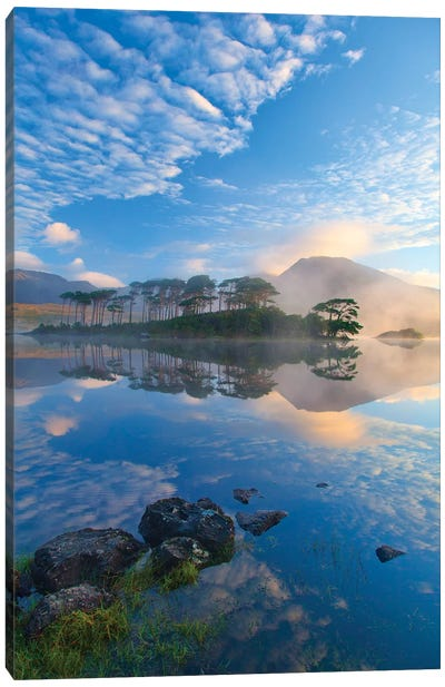 Misty Morning Reflection Of Twelve Bens II, Derryclare Lough, Connemara, County Galway, Connacht Province, Republic Of Ireland Canvas Art Print