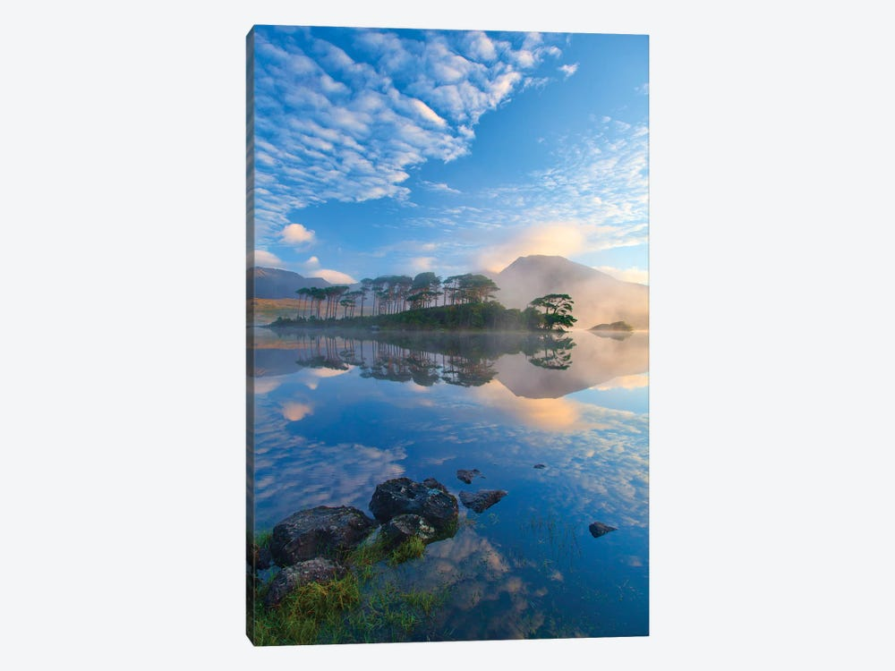 Misty Morning Reflection Of Twelve Bens II, Derryclare Lough, Connemara, County Galway, Connacht Province, Republic Of Ireland by Gareth McCormack 1-piece Canvas Wall Art