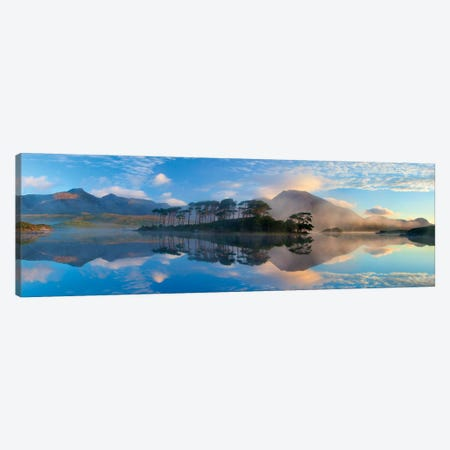 Misty Morning Reflection Of Twelve Bens III, Derryclare Lough, Connemara, County Galway, Connacht Province, Republic Of Ireland Canvas Print #GAR59} by Gareth McCormack Canvas Print