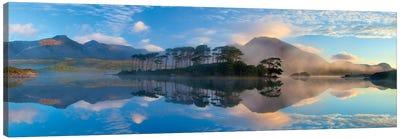 Misty Morning Reflection Of Twelve Bens III, Derryclare Lough, Connemara, County Galway, Connacht Province, Republic Of Ireland Canvas Print #GAR59