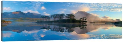 Misty Morning Reflection Of Twelve Bens III, Derryclare Lough, Connemara, County Galway, Connacht Province, Republic Of Ireland Canvas Art Print