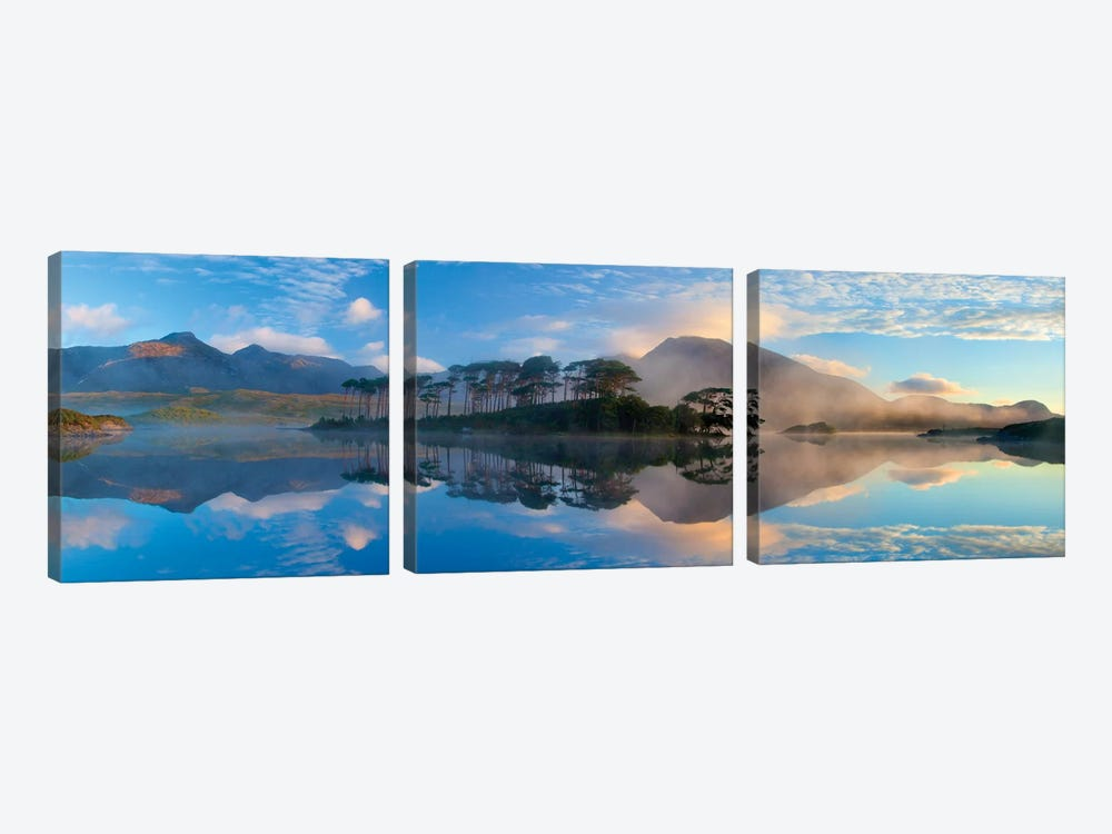 Misty Morning Reflection Of Twelve Bens III, Derryclare Lough, Connemara, County Galway, Connacht Province, Republic Of Ireland by Gareth McCormack 3-piece Art Print