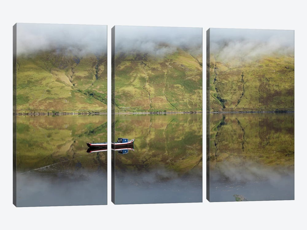 Misty Reflection, Killary Harbour, Connemara, County Mayo, Connacht Province, Republic Of Ireland by Gareth McCormack 3-piece Canvas Art Print