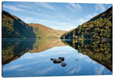 Morning Reflection, Upper Lake, Glendalough, County Wicklow, Leinster Province, Republic Of Ireland Canvas Art Print