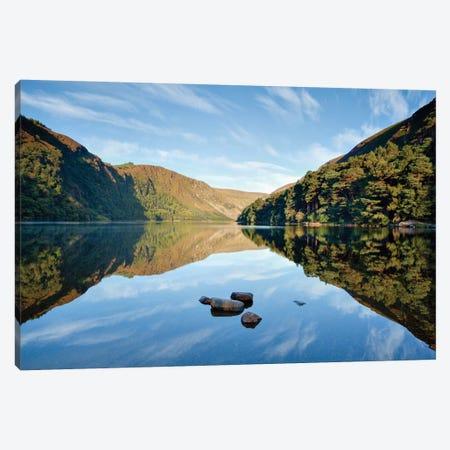 Morning Reflection, Upper Lake, Glendalough, County Wicklow, Leinster Province, Republic Of Ireland 3-Piece Canvas #GAR62} by Gareth McCormack Canvas Artwork