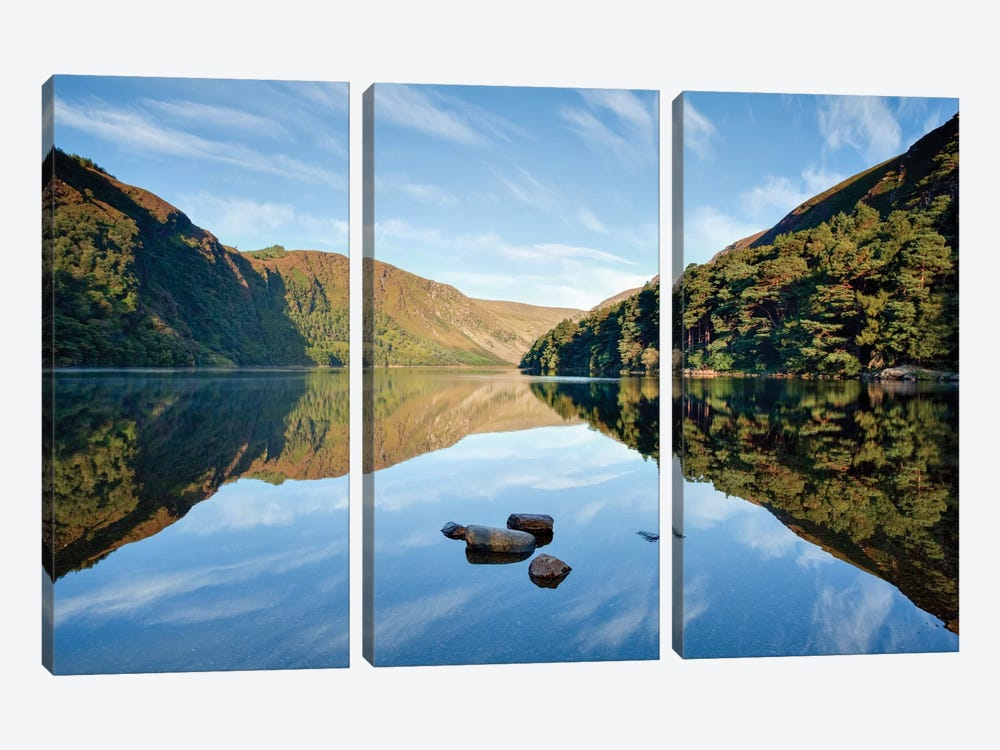 Morning Reflection, Upper Lake, Glendalough, County Wicklow, Leinster Province, Republic Of Ireland by Gareth McCormack 3-piece Art Print