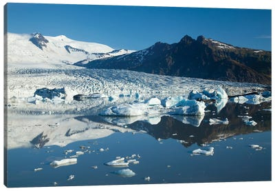 Reflection Of Fjallsjokull I, Fjallsarlon Glacier Lake, Vatnajokull National Park, Sudurland, Iceland Canvas Art Print