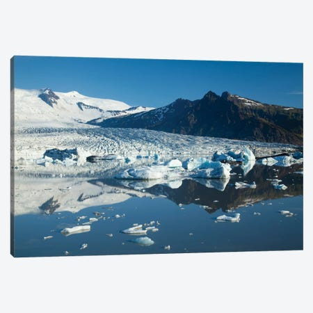 Reflection Of Fjallsjokull I, Fjallsarlon Glacier Lake, Vatnajokull National Park, Sudurland, Iceland Canvas Print #GAR73} by Gareth McCormack Art Print