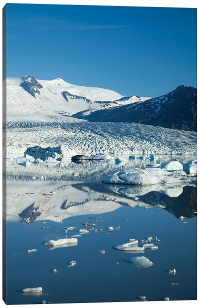 Reflection Of Fjallsjokull II, Fjallsarlon Glacier Lake, Vatnajokull National Park, Sudurland, Iceland Canvas Art Print