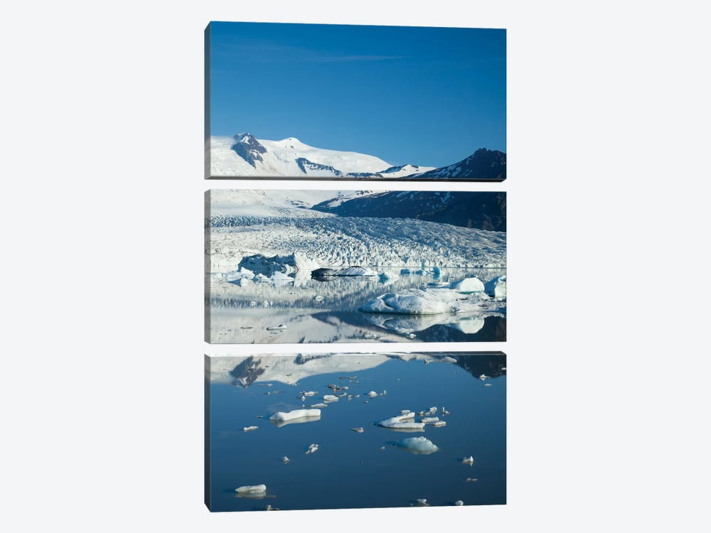 Reflection Of Fjallsjokull II, Fjallsarlon Glacier Lake, Vatnajokull National Park, Sudurland, Iceland by Gareth McCormack 3-piece Canvas Art